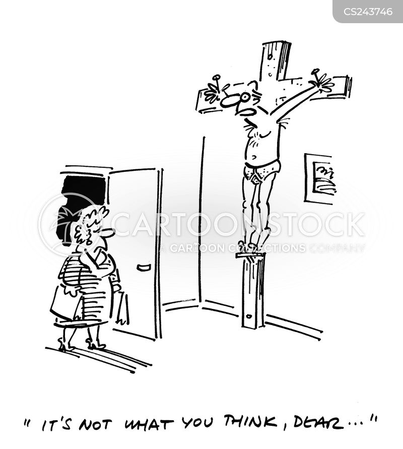 crucifying cartoon