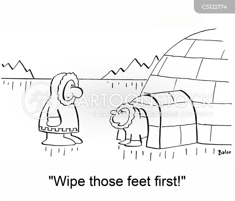 wiping feet cartoon