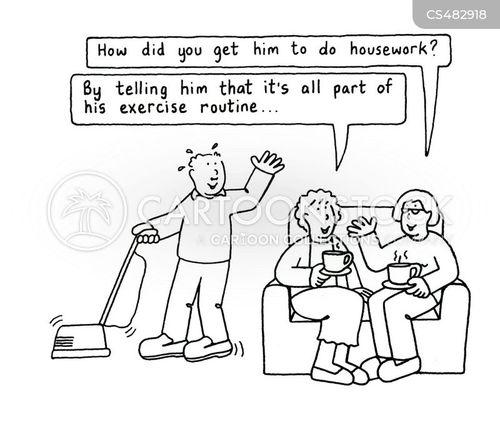 fitness routine cartoon