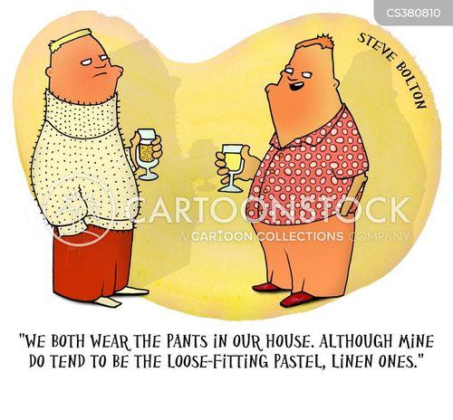 wearing the trousers cartoon