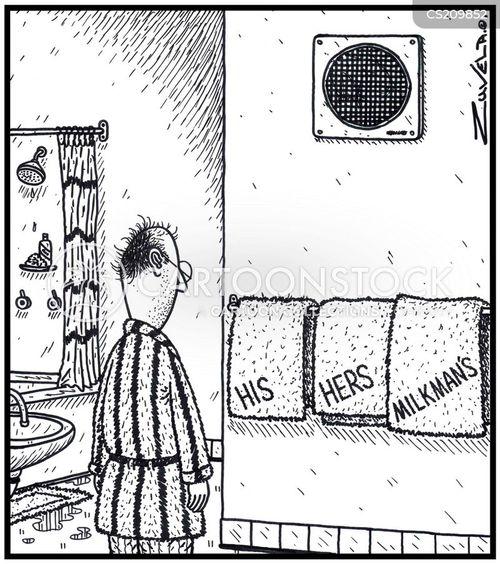 bathroom towels cartoon