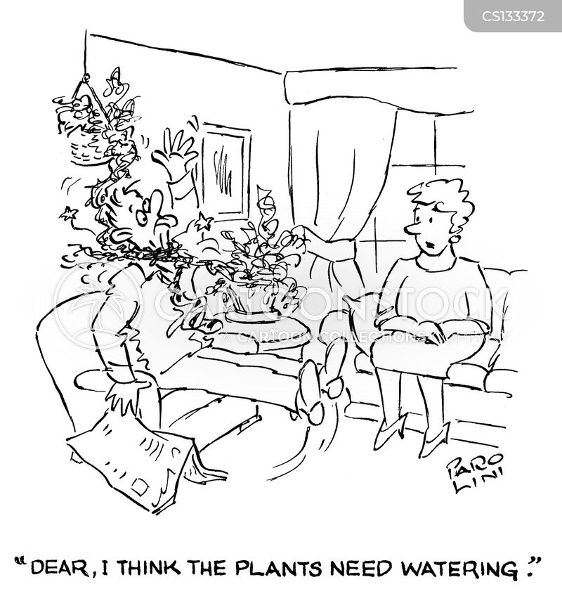 watering the plants cartoon