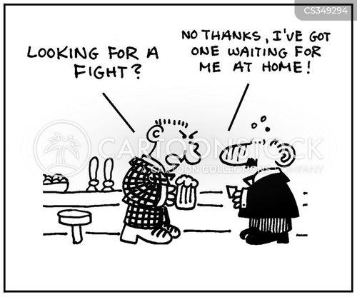 pub fights cartoon