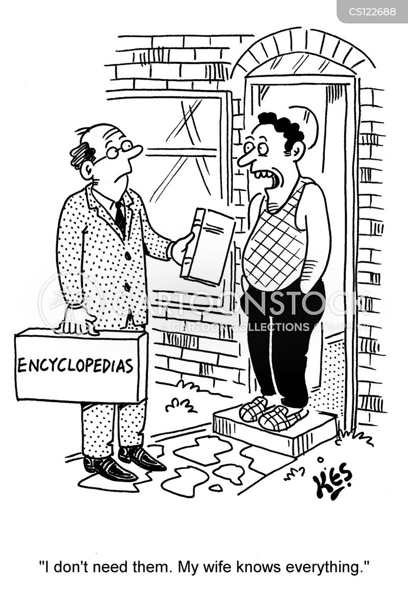 encyclopedia salesman cartoon