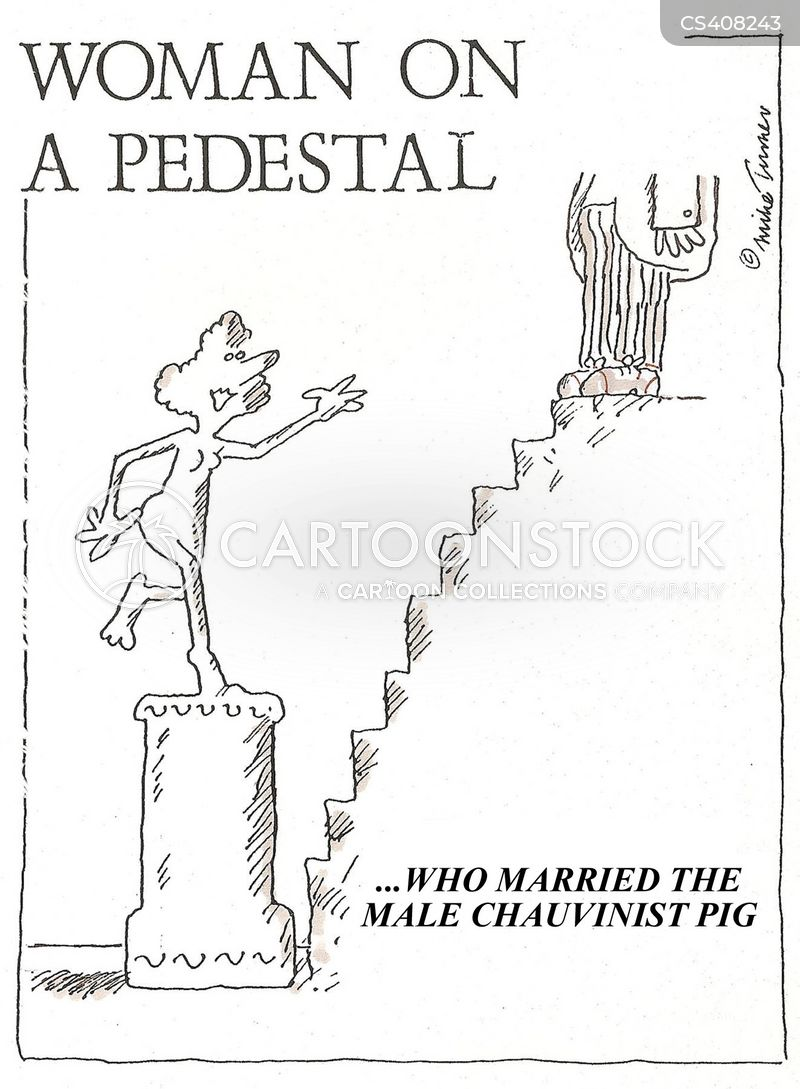 woman on a pedestal cartoon
