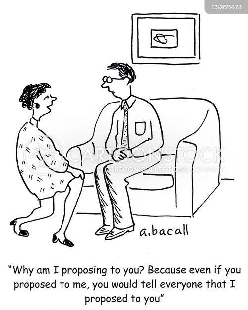 women proposing cartoon