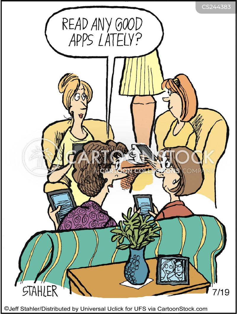 e book readers cartoon