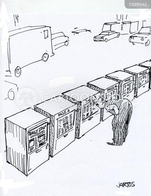 newspaper vending machine cartoon