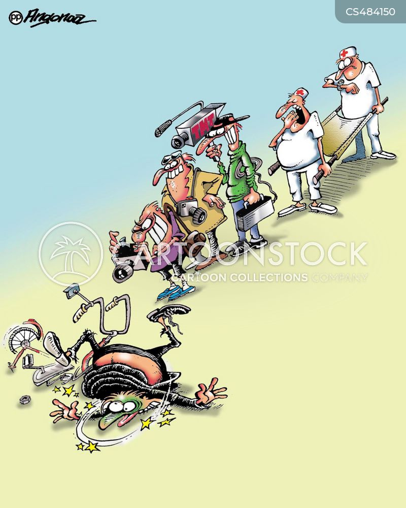 cycling accident cartoon