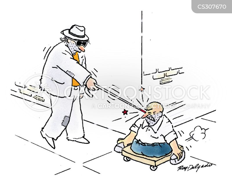 white cane cartoon