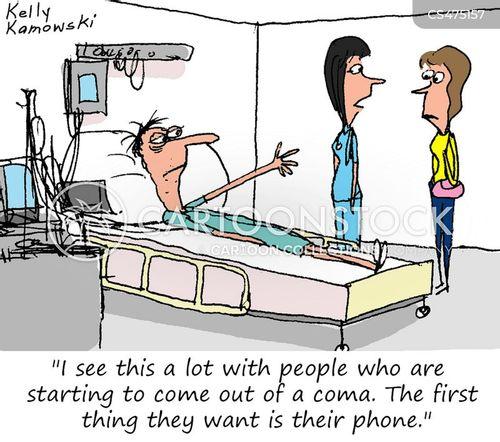 coma patient cartoon