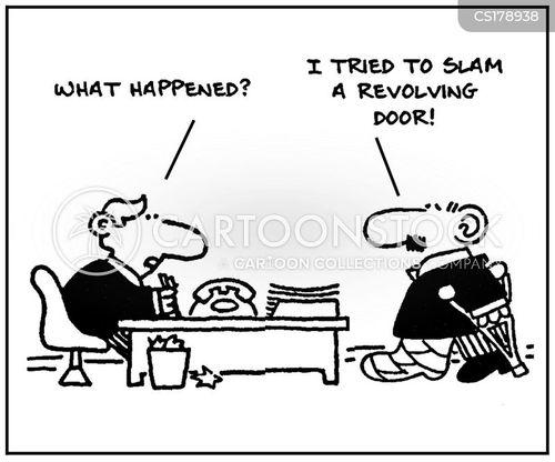 revolving door cartoon