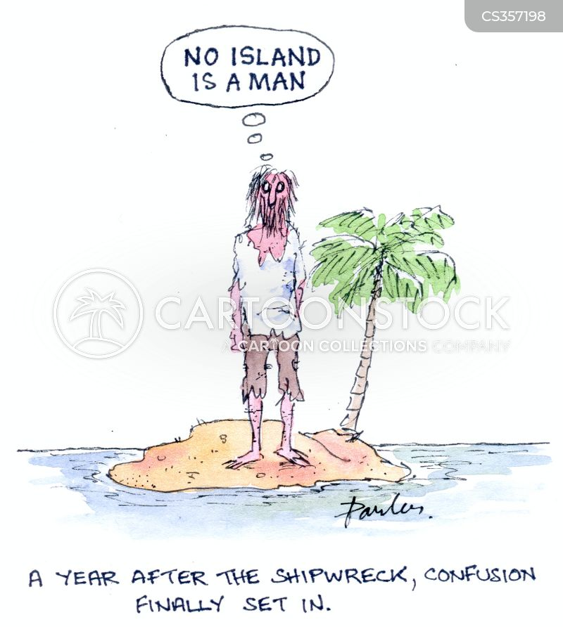 no man is an island cartoon