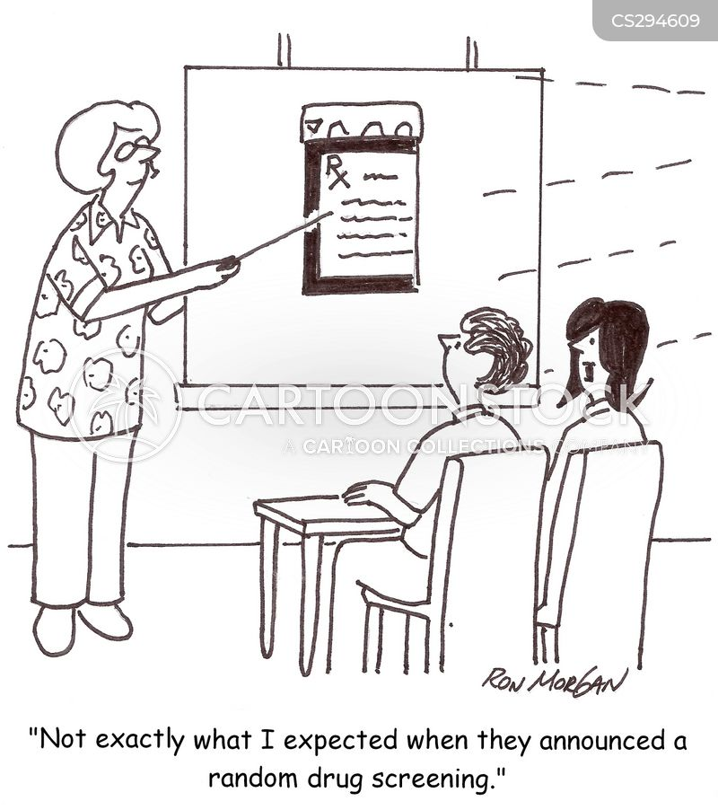 drug screening cartoon