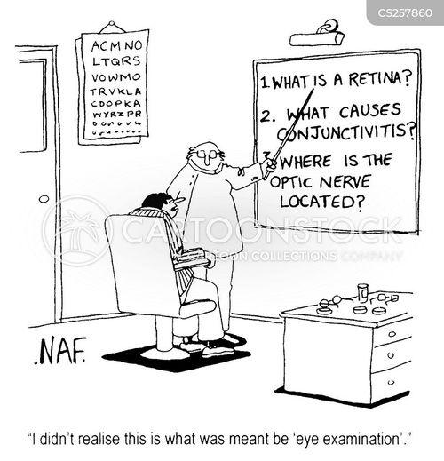 eye examination cartoon