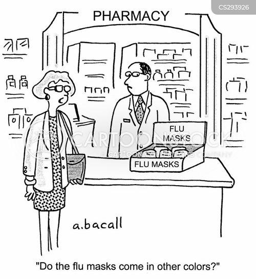 flu mask cartoon
