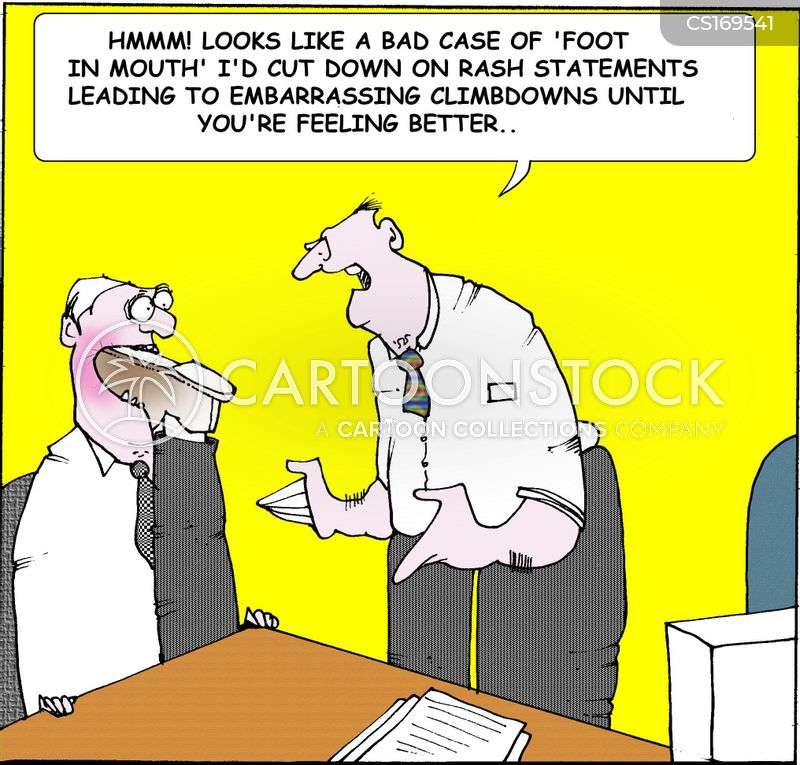 foot in mouth cartoon