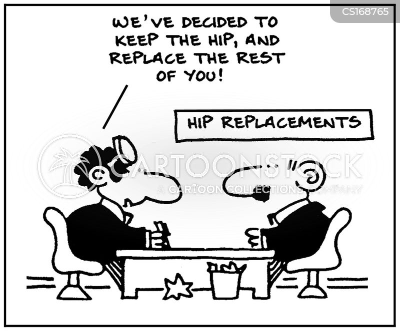 Image result for hip replacement cartoon