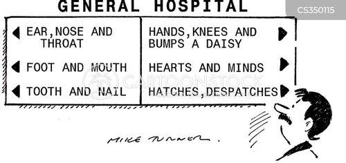 hospital departments cartoon