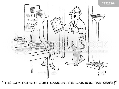 lab tests cartoon