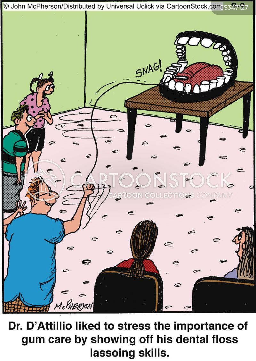 dental floss cartoon