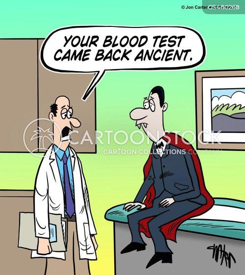 blood testing cartoon