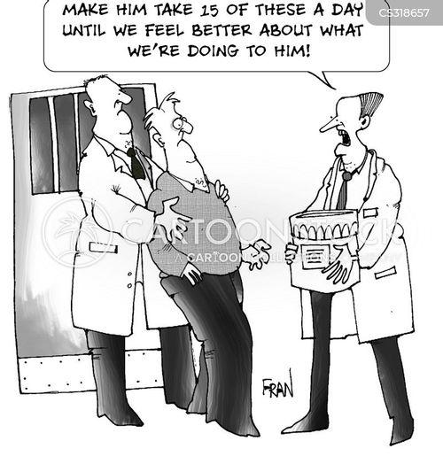 pill popping cartoon