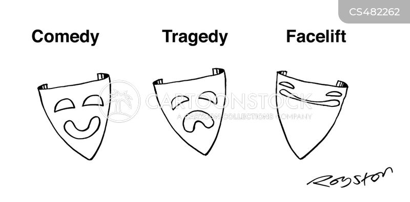 tragedy masks cartoon