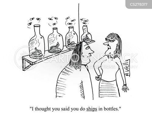 ships in bottles cartoon
