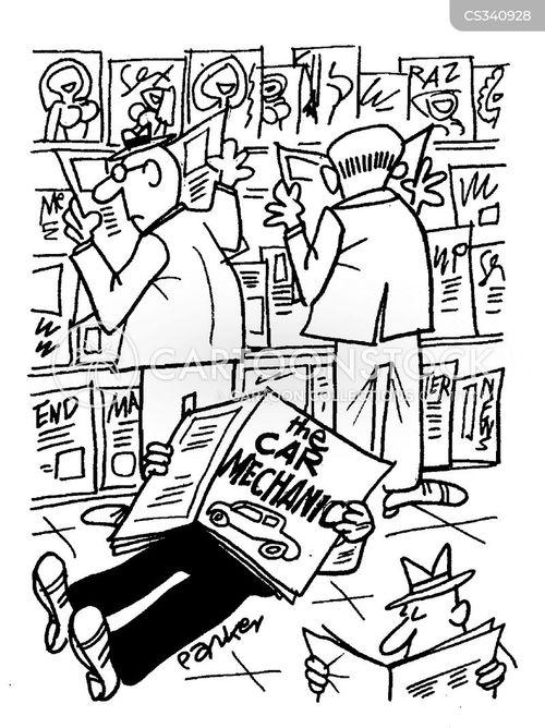 car magazine cartoon