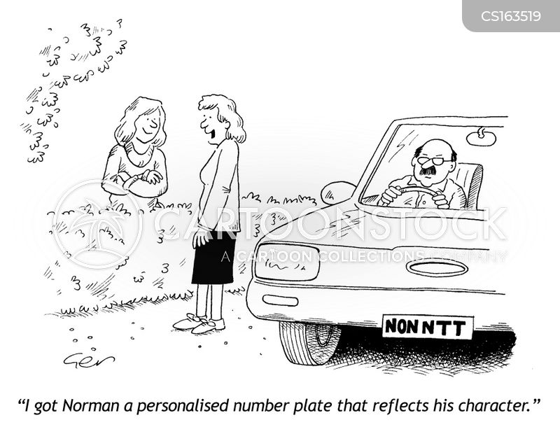 personalized number plate cartoon