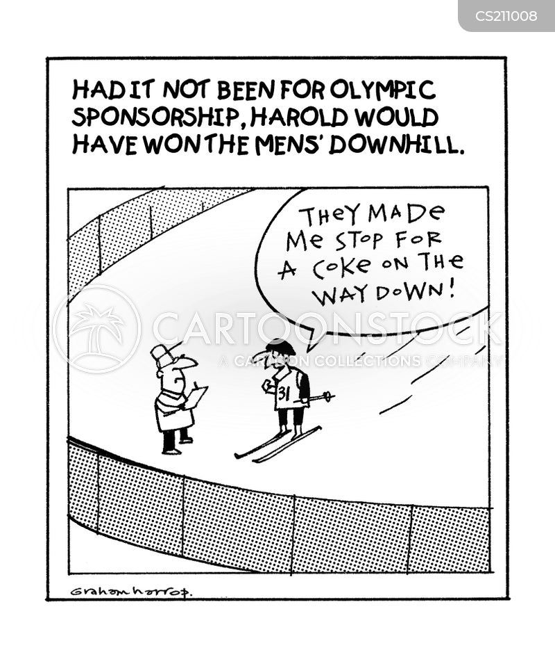 downhill skiing cartoon
