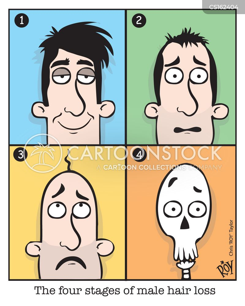 losing hair cartoon