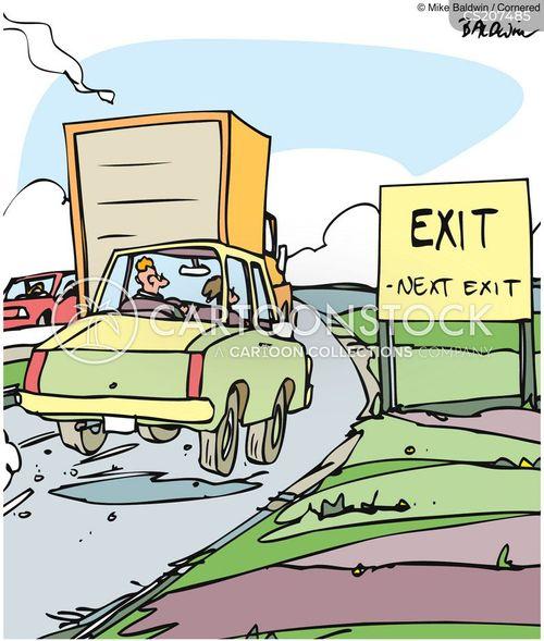 exit sign cartoon