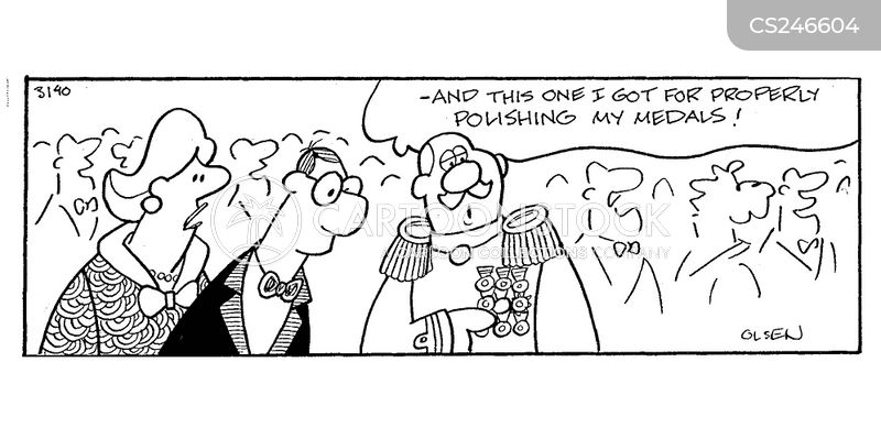 cleaning medals cartoon