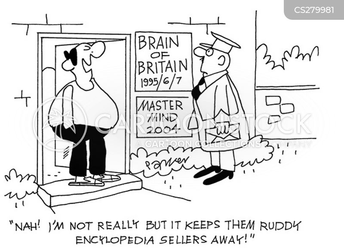 encyclopedia sellers cartoon