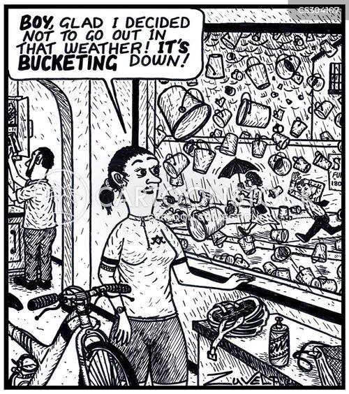 bucketing down cartoon