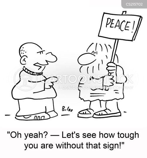 peace protester cartoon