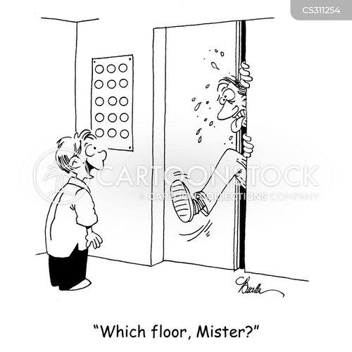 elevator doors cartoon