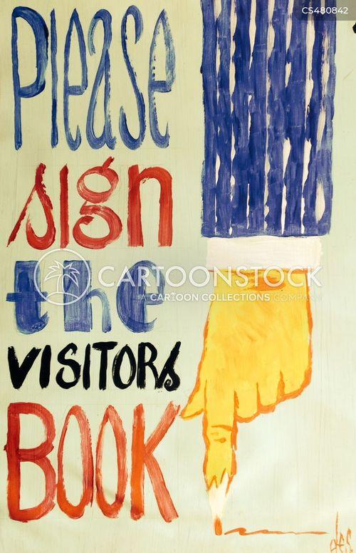 visitors book cartoon