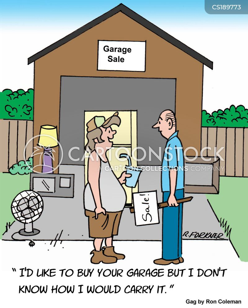 garage sale cartoon