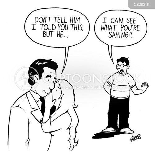 whispering cartoon