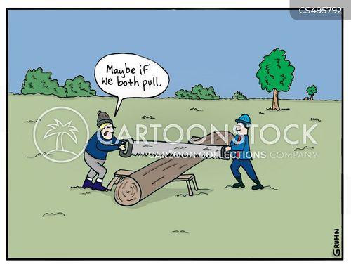woodcutting cartoon