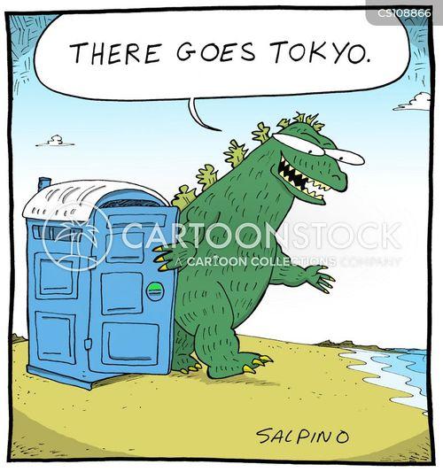 portable toilets cartoon
