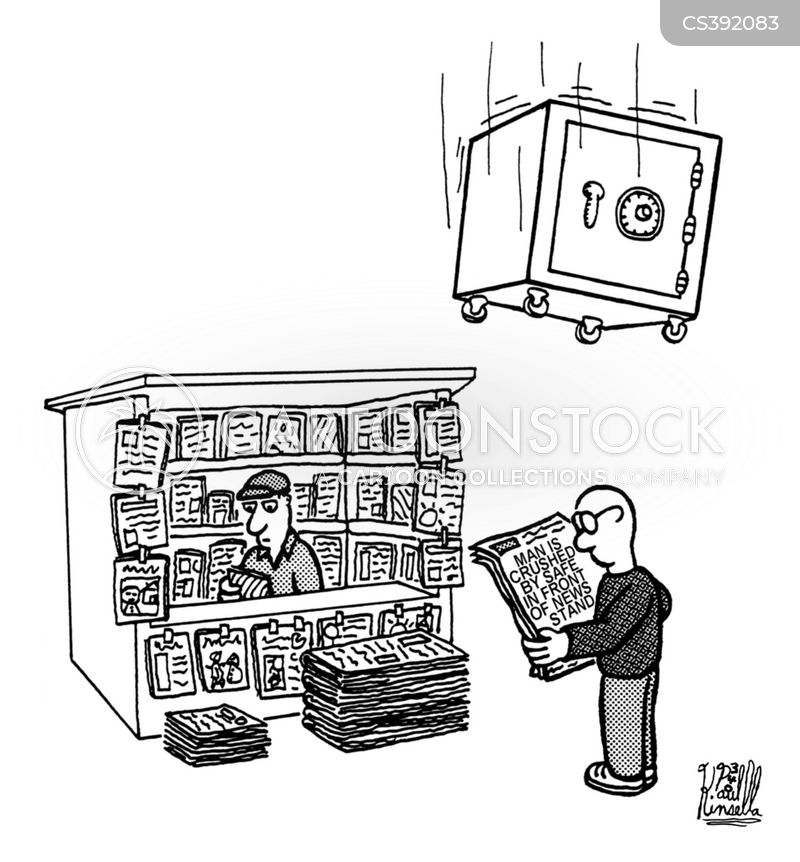 newspaper stands cartoon