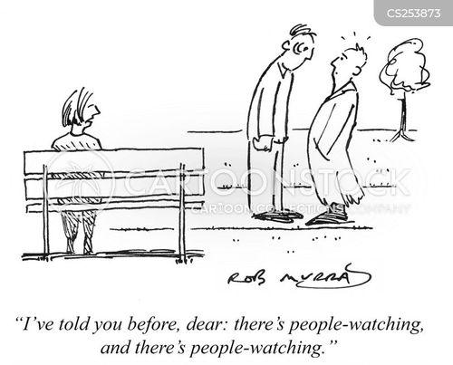 people-watching cartoon