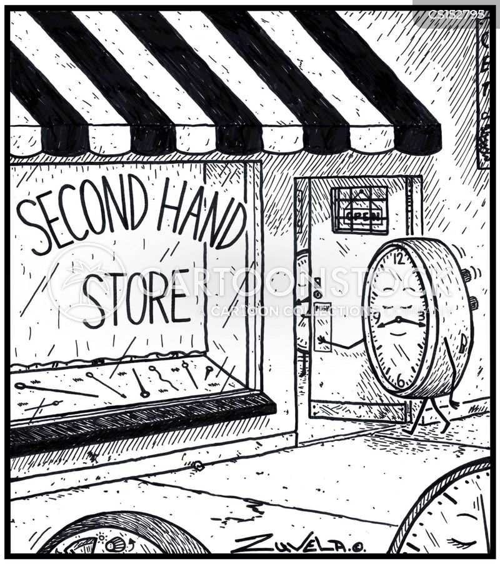 second-hand store cartoon