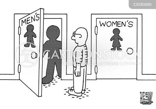 Cartoon Bathroom Door And Women's Bathroom Door