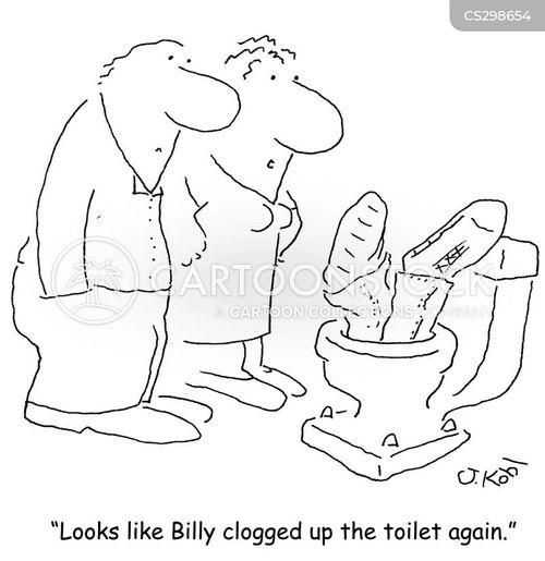 blocked toilet cartoon