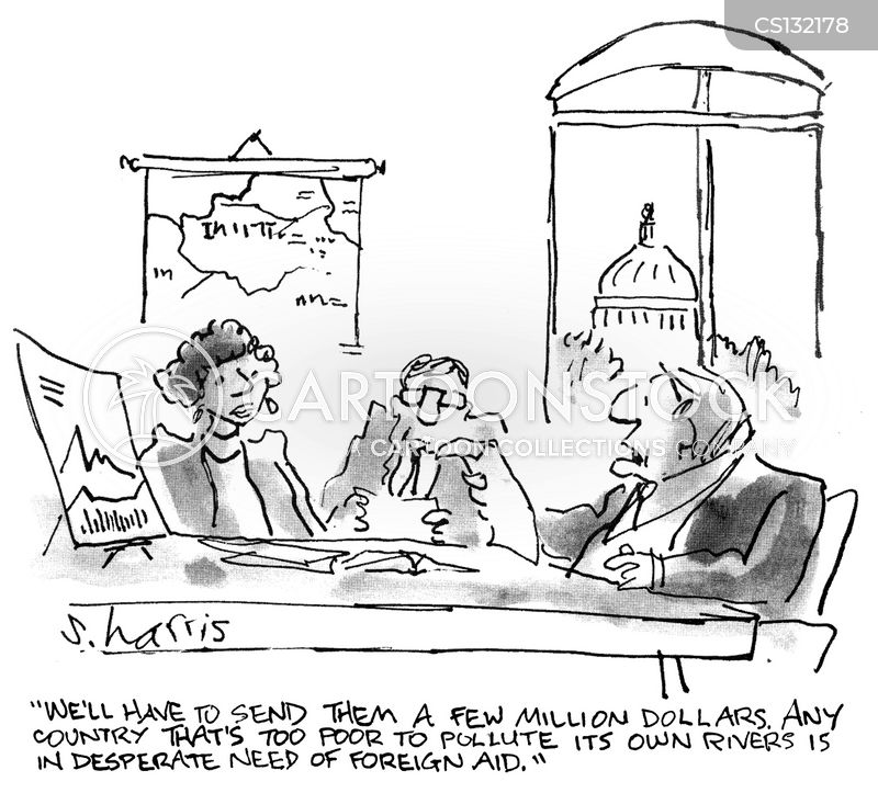 sending aid cartoon